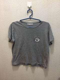 Pull & Bear gray patched shirt