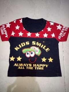 Baju anak cowok kids smile warna merah merah hitam ±0-12 bln