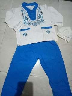 Set baju koko baju muslim anak cowok biru putih 3 in 1