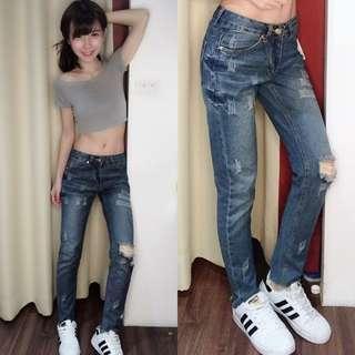斷貨零碼-破損感休閒美型牛仔褲👖
