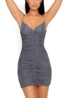 OH POLLY GREY RUCHED MINI DRESS