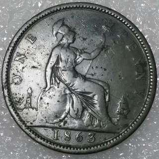 1863 Old UK Penny Victoria