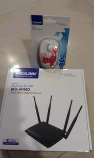 BNIB Sealed Prolink Wireless AC1200 1200 MU-MIMO  Dual-Band Gigabit Router PRC3801 wireless data SSID WAN & LAN Wifi and USB Optical Mouse