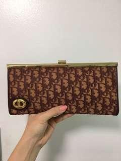 Authentic Christian Dior Trotter Burgundy Long Clutch