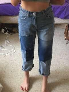 NEW patchwork high waisted denim mom straight leg jeans
