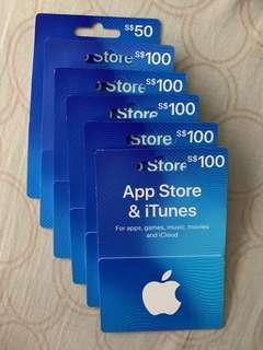 Apple App Store & iTunes 50 100 cards. Plz Offer the price...