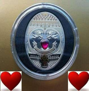 👉 Niue Is $1 - 2011 New Faberge, Love. 1 Oz. 925 Fine Silver Proof coin