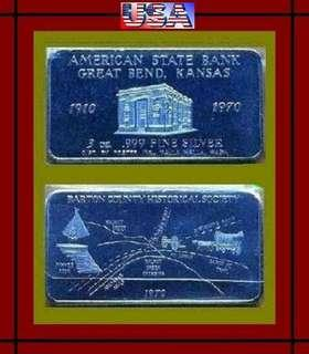 ♦ USA. Foster Mint, 1970 Great Bend - 3 Troy Oz. 999 Fine Silver Chunky Art bar