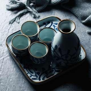 Zakka 雜貨 日式手繪酒杯酒壺組 1壺4杯帶托盤