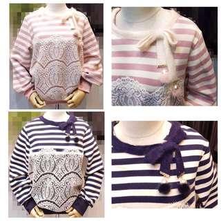 🚚 「正韓」領口蝴蝶結🎀珠珠前蕾絲顯瘦設計正韓上衣(粉 藍)