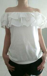 H&M White Off Shoulder Top
