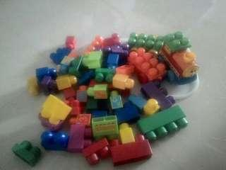 Mega Building Blocks with Train and carriages