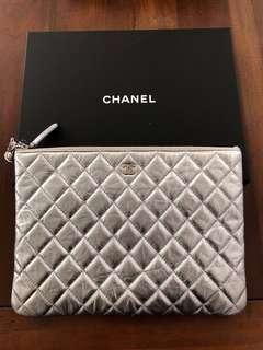 Authentic Chanel Silver Clutch