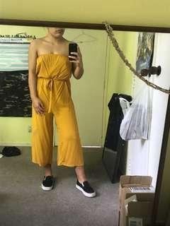 Cotton On Strapless Jumpsuit - Mustard Yellow
