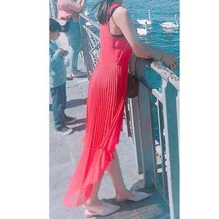 TopShop beautiful pink pleated chiffon cocktail skirts dress onepiece blouse 外國歐美女神款 桃紅色 飄逸 百摺裙尾 拖尾雪紡連身裙 中長裙 襯衫 旅行必備