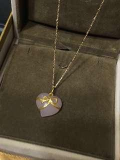 🚚 鎮金店justgold 擁抱愛 粉水晶 黃金 18K金 玫瑰金 雙色K金項鍊