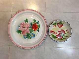 Vintage enamel plates or trays