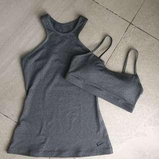 NIke Womens Gray Tank & Sports Bra
