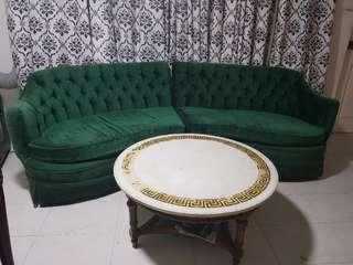 Vintage Hollywood Regency Style Couch and Marble Table