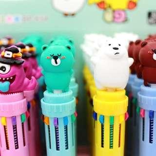 Cartoon Ball Pen 10 Colors Ink