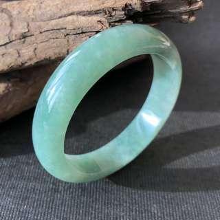 53.5mm A-Grade Type A Natural Green Jadeite Jade Modern Round Bangle No.151495