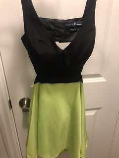 Marciano black and lime green short dress