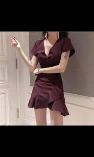 BNWT instock Maroon frill dress