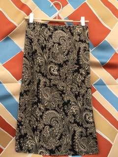 Black and Gold Paisley Skirt