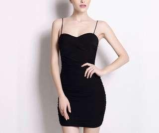 Mesh mini black dress