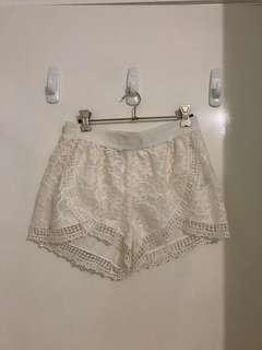 Bardot white lace high waisted shorts