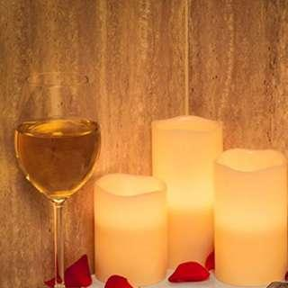 """P10 Flameless Candles Battery Operated Candles Real Wax Pillar LED Candles with Dancing Flame with 10-key Remote and Cycling 24 Hours Timer, Height 4"""" 5"""" 6"""", Ivory - Set of 3"""