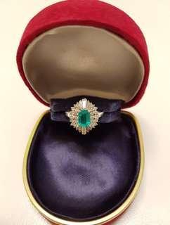 1981 Vintage, Authentic, Genuine and Brand New Platinum Emerald Diamond Ring. Emerald is 0.62ct. Diamond is 0.74ct.