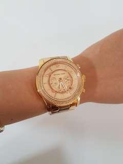 Michael Kors rose gold tone watch with crystals