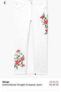 MANGO EMBROIDERED JEANS WHITE