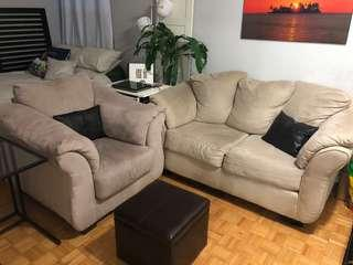Very comfy love seat and armchair