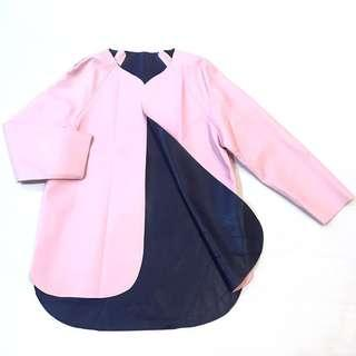 Faux Leather Baby Pink Outerwear Jacket Autumn Winter