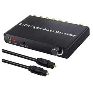 P10 5.1CH DAC Converter 192KHz Audio Decoder with Volume Adjustable Support Dolby AC-3/ DTS Digital to 5.1CH Analog And 3.5mm Adapter with Optical Cable for HDTV Blue-ray DVD PS3 PS4 Xbox