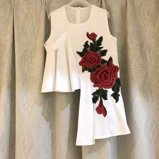 3D Rose Embroidery Floral Asymmetrical White Sleeveless Top