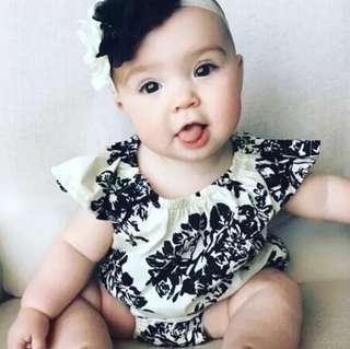 🚚 ✔️STOCK - BLACK BAROQUE FLORAL PRINT COLLAR OVERALL ONESIE ROMPER NEWBORN BABY TODDLER GIRLS KIDS CHILDREN CLOTHING