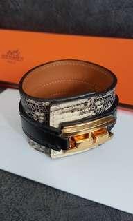Rare: Hermes Ombre Manchette Drag Bracelet - Lizard - GHW / Black Leather - LNIB