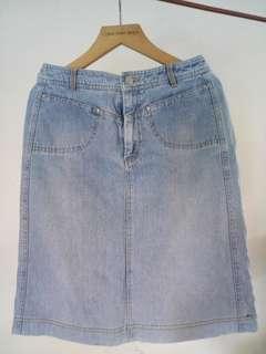 Light Washed High Waisted Denim Skirt