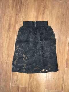 BNWT Classy Elegant Black Mid Length Organza Skirt with Black Inner Lining