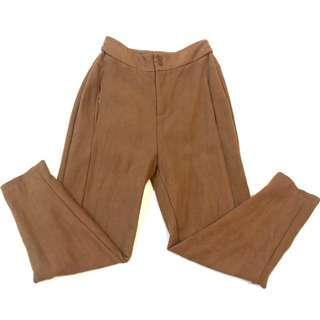 Suede Khaki Brown High Waist 3/4 Pant