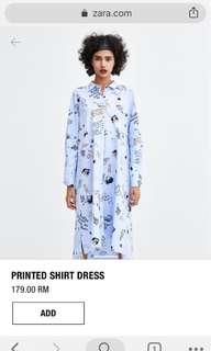 Zara printed shirt dress