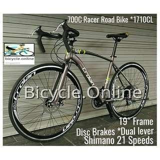 Crolan Racer, 700C Road Bike ☆ Shimano 21 Speeds ☆ Disc brakes ✩ Brand New Bicycle.