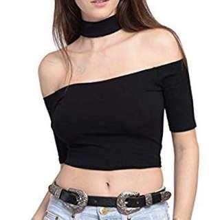 Choker Black Short Sleeve Top