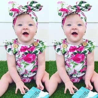 🚚 ✔️STOCK - 2pc FUSCHIA PINK FLORAL GREENS OVERALL STRAP ROMPER TOP & RIBBON HEADBAND SET NEWBORN BABY TODDLER GIRLS KIDS CHILDREN CLOTHING