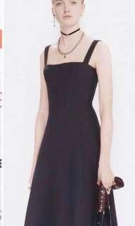 Black straight neck dress