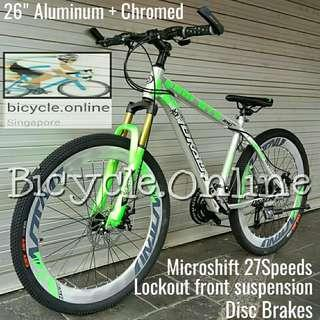 """Aluminium 26"""" Chromed Mountain Bike ☆ anti-corrosion ! ☆ Microshift 27Speeds, Sports Rims, Lockout Front Suspension ☆ Brand New Dkaln(890) Bicycle"""