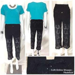 Pretty lace garterized pants